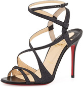 Christian Louboutin Audrey Strappy Glitter Red Sole Sandal, Black