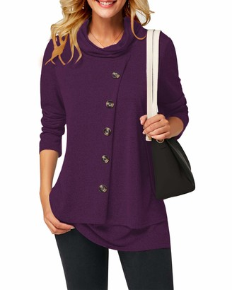 SOLERSUN Lone Sleeve Shirts for Women Casual Round Hemline Cowl Neck Pullover Jumper Tops Womens Sweatshirt Long Sleeve T Shirt for Girls with Buttons Purple XXL UK Size 16