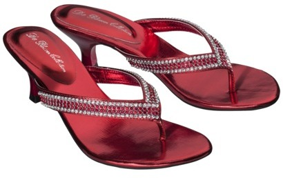Women's De Blossom Alessia Low Heel Step in Rhinestone Sandal - Red