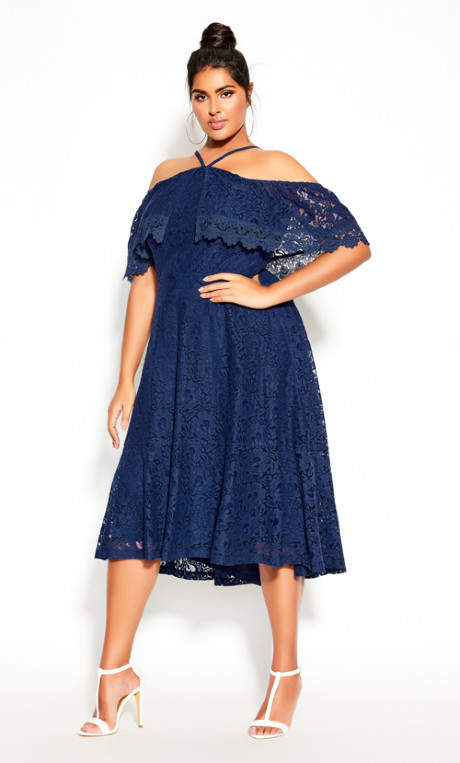 City Chic Enticing Lace Dress - navy