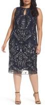 Pisarro Nights Plus Size Women's Embellished Tea Length Sheath Dress