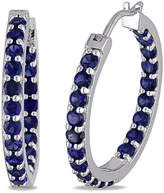 JCPenney FINE JEWELRY Lab-Created Blue Sapphire Sterling Silver Inside-Out Hoop Earrings