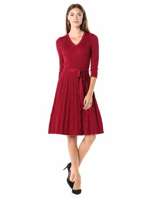 Gabby Skye Women's 3/4 Sleeve V-Neck Faux Wrap Fit and Flare Sweater Dress