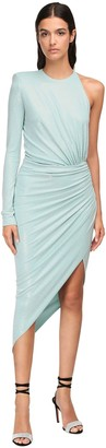 Alexandre Vauthier Micro Crystal Draped Jersey Midi Dress