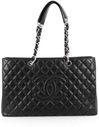 Chanel Shopping tote Quilted Caviar Silver-tone Grand XL Black