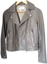 Reiss Grey Leather Leather Jacket for Women