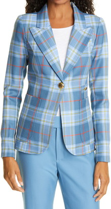 Smythe Duchess Plaid Wool Cutaway Blazer