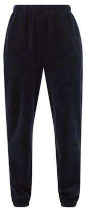 LES TIEN Cotton-blend Velour Track Pants - Navy