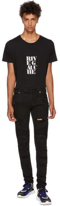 Balmain Black Distressed Basic Biker Jeans