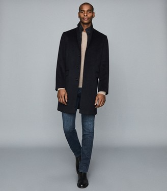 Reiss COAL OVERCOAT WITH REMOVABLE INSERT Navy