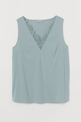 H&M V-neck Top with Lace - Turquoise