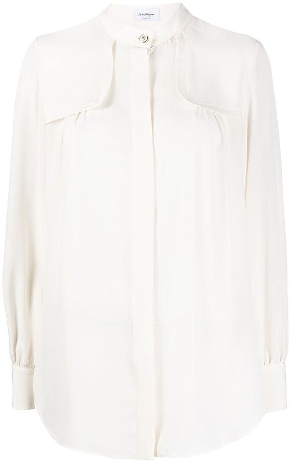Salvatore Ferragamo Band-Collar Silk Shirt