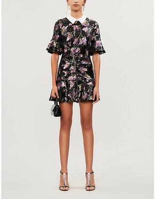 Self-Portrait Contrast-collar floral-pattern sequin mini dress