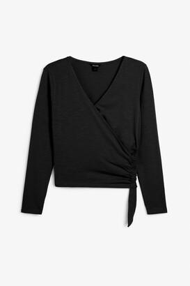 Monki Long-sleeve wrap top