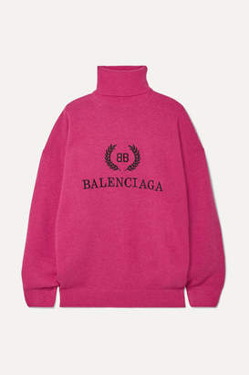 Balenciaga Embroidered Wool And Cashmere-blend Turtleneck Sweater - Pink