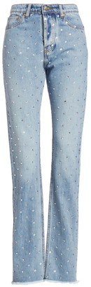 Alexandre Vauthier Crystal-Embellished High-Rise Straight-Leg Jeans