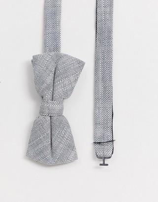 Twisted Tailor bow tie in herringbone grey