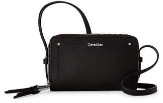 Calvin Klein Black & Silver Faux Saffiano Leather Camera Crossbody