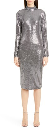 Badgley Mischka Long Sleeve Sequin Cocktail Dress