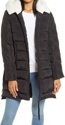 Puffer Coat with Faux Shearling Lined Hood