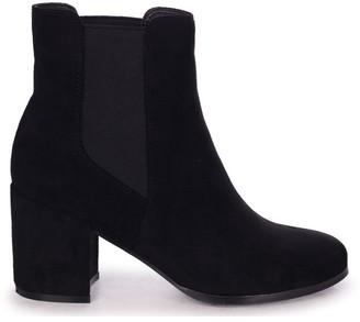 Linzi DUA - Black Suede Pull On Chelsea Boot With Block Heel