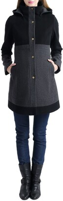 Kimi and Kai Tessa Colorblock Wool Blend Maternity Coat