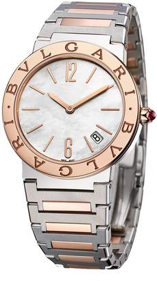 Bvlgari Rose Gold, Stainless Steel and Mother-of-Pearl Lady Watch 33mm