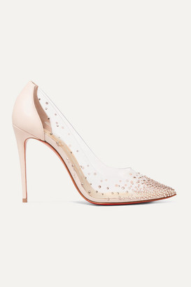 Christian Louboutin Degrastrass 100 Embellished Pvc And Leather Pumps - Pastel pink