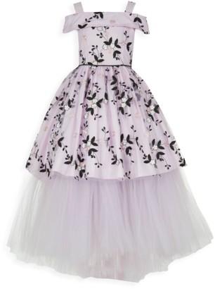Pastourelle By Pippa & Julie Girl's Cold-Shoulder Floral Mesh Gown