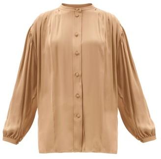 KHAITE Denny Balloon-sleeve Pleated Silk-georgette Blouse - Camel