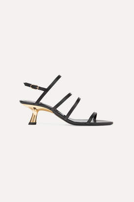 Simon Miller Strappy Tee Leather Slingback Sandals - Black