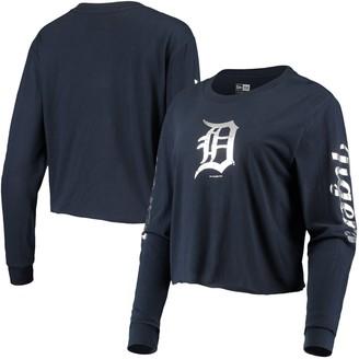 New Era Women's Navy Detroit Tigers Baby Jersey Long Sleeve Cropped T-Shirt