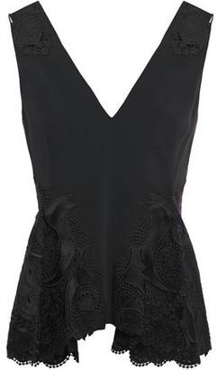 Jonathan Simkhai Cutout Guipure Lace-paneled Cady Peplum Blouse