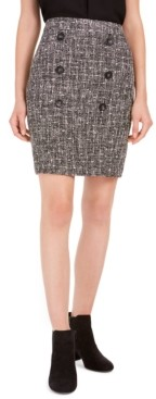 Bar III Button-Detail Tweed Pencil Skirt, Created For Macy's