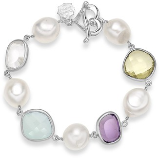 Dower & Hall Jewel Sterling Silver Faceted Multi Gemstone and Freshwater Pearl T-Bar Bracelet of 20.50 cm