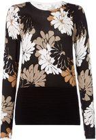 Linea Floral print rib jumper