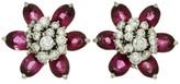 Van Cleef & Arpels 18K White Gold Hawaii Diamond Rubellite Flower Earrings
