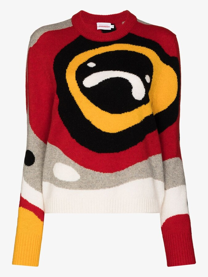 Thumbnail for your product : Charles Jeffrey Loverboy Red X Browns 50 Sad Echo Intarsia Sweater