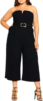 City Chic Strapless Belted Jumpsuit
