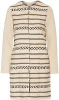 Tory Burch Paneled Wool-Blend Jacquard-Knit Coat