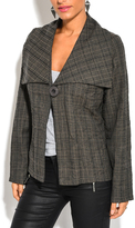 Gray Plaid Single-Button Coat