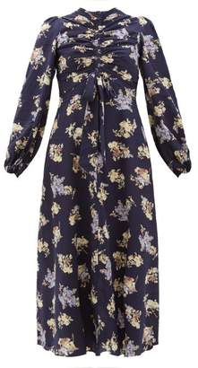 Zimmermann Sabotage Ruched Floral-print Silk-blend Midi Dress - Womens - Navy Print