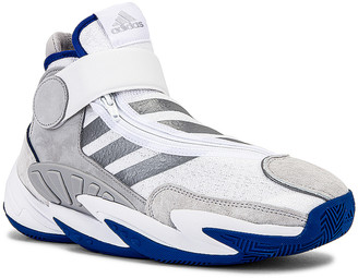 adidas x Pharrell Williams BBall Sneaker in FTW White & Silver | FWRD