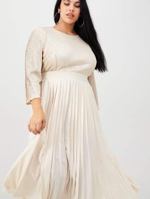 Little Mistress Curve Sequin Pleated Midaxi Dress - Cream