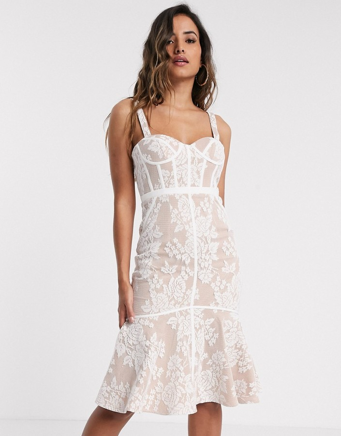 Jarlo lace midi dress with corset detail in ivory