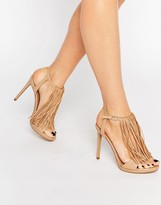 KENDALL + KYLIE Kendall & Kylie Aries Nappa Leather Fine Fringed Heeled Sandals