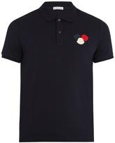 Moncler Felt-appliqué cotton-piqué polo shirt