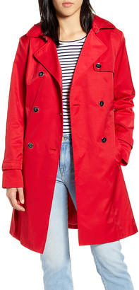 Cole Haan Women's Trench Coats [RED]RED - Red Trench Coat - Women
