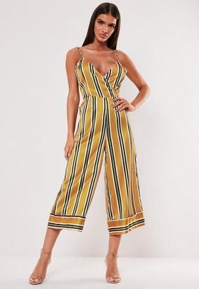 Missguided Yellow Stripe Satin Wrap Culotte Romper