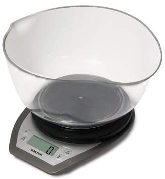 Salter Digital Electronic Kitchen Scales - 2 Litre Dual Pour Mixing Bowl, Perfect for Cooking, Baking, Food/Liquid Weighing, Easy Read Display, Metric/Imperial, 15 Year Guarantee – Black/Silver
